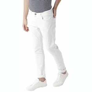 FunTree White Color Cotton Blended Jeasn for Men