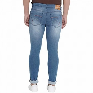 DAIS Men's Mid Rise Mildly Wash Cross Pocket Skinny Fit Stretchable Medium Blue Jeans Pants