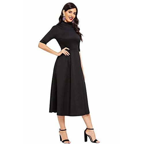ILLI LONDON Black Polyester A-LINE MIDI & Maxi Dress