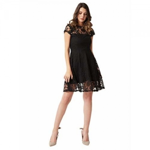 Miss Chase Women's Black Lace Pearl Skater Dress