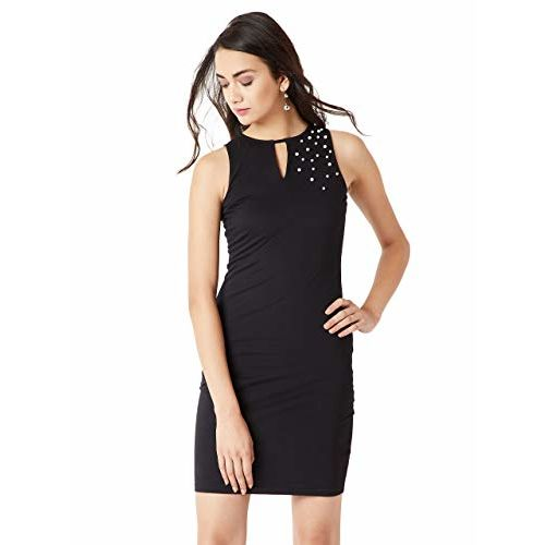 Miss Chase Women's Black Pearl Bodycon Dress