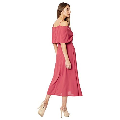 Miss Chase Women's Pink Off-Shoulder Pearl Midi Dress