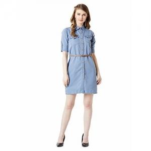 Miss Chase Women's Blue Belted Mini Denim Shirt Dress