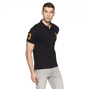 US Polo Association Navy Blue Cotton Solid Polo T-Shirts