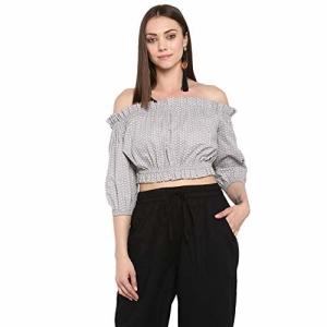 Peppytone Women's Printed Off-Shoulder Crop Top Grey