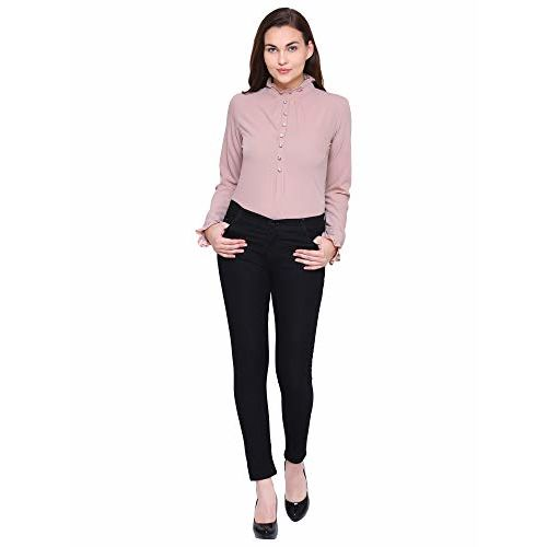 Mizago Casual Long Sleeve Solid Pearl Embroidered Women's Top