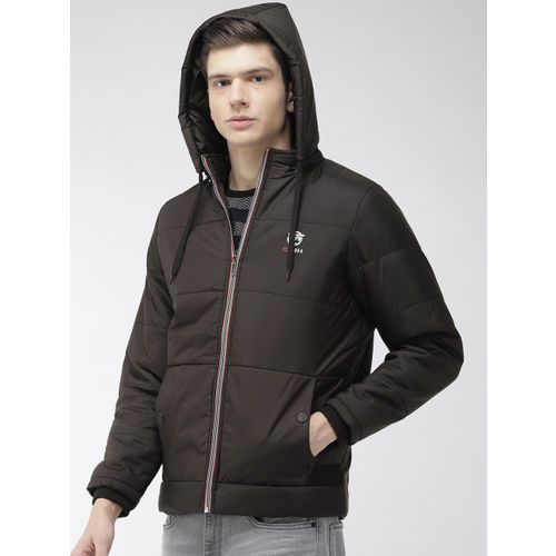 Foreign Culture By Fort Collins Men Black Solid Hooded Puffer Jacket
