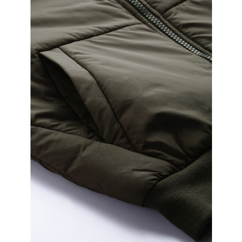 Foreign Culture By Fort Collins Men Olive Green Solid Padded Jacket