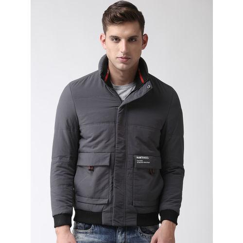 Fort Collins Men Grey Solid Bomber Jacket