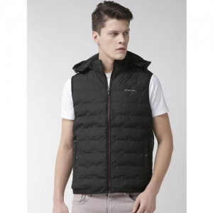 Fort Collins Men Black Solid Padded Jacket with Detachable Hood