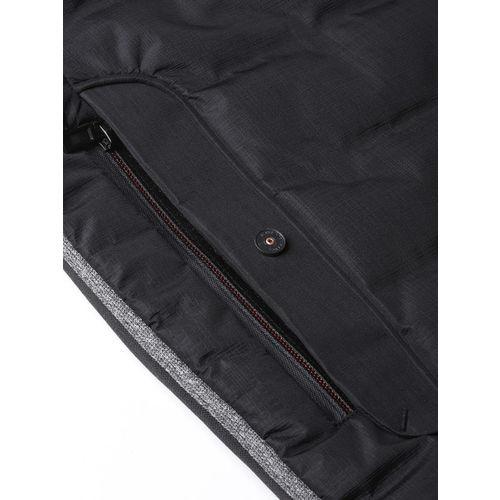 Fort Collins Men Black Solid Padded Jacket with Detachable Hood