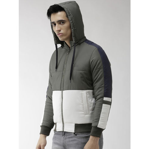 Foreign Culture By Fort Collins Men Olive Green & White Hooded Colourblocked Bomber Jacket