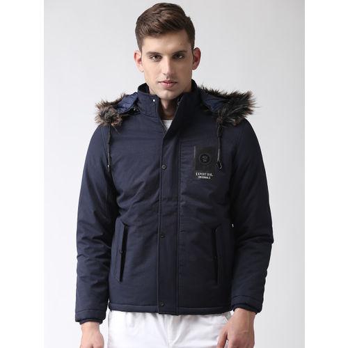 Fort Collins Men Navy Blue Solid Parka Jacket