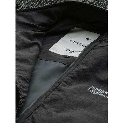 Fort Collins Men Charcoal Grey Solid Hooded Bomber Jacket