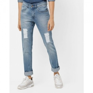 AJIO Low-Rise Tapered Fit Distressed Jeans
