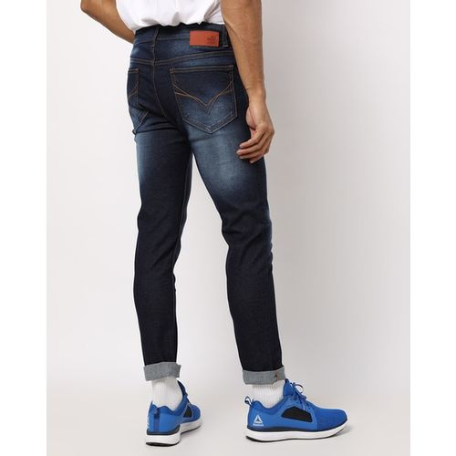 FLYING MACHINE Mid-Wash Tapered Jeans