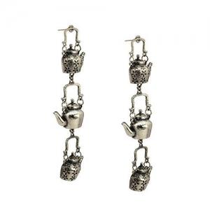 Zephyrr Drop Earrings Silver Tone layered kettle Design Party Jewelry