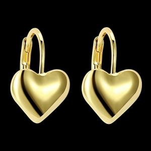 Peora 18 K Gold Plated Heart Stud Earrings