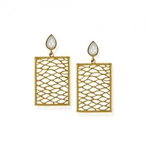 Zaveri Pearls Gold-Toned Rectangular Dangle Drop Earring