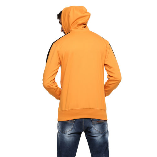 Gentino Men's Stylish Plain Hooded Gold Sweatshirt