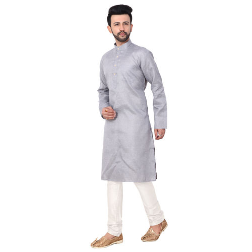 RC Ethnic Navy blueSolid Cotton Kurta Pyjama Set For Men