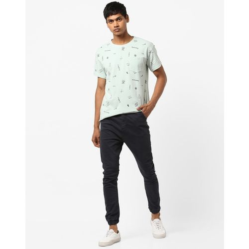 AJIO Slim Fit Printed Crew-Neck T-shirt with Patch Pocket