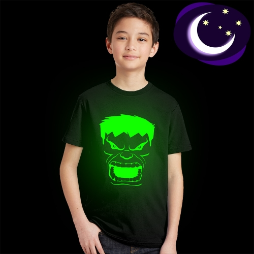 Crazy Prints Glow in Dark  hulk  Black Cotton Round neck T shirt