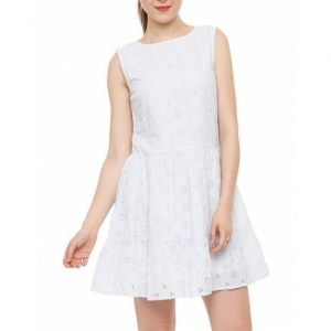 PEOPLE white cotton Sleeveless Fit & Flare Dress