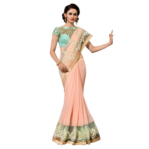 Deepfashion Beige Georgette Embroidered Saree With Blouse