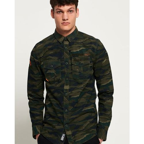 SUPERDRY Camouflage Print Slim Fit Shirt with Flap Pockets