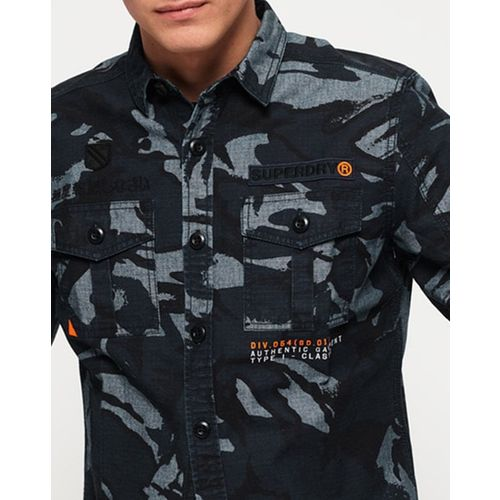 SUPERDRY Military Storm Camo Print Shirt with Dual Flap Pockets