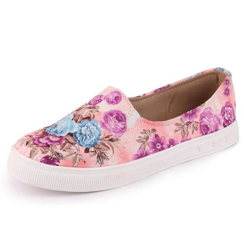 Fausto Women's Canvas Flowers Print Slip On Loafers
