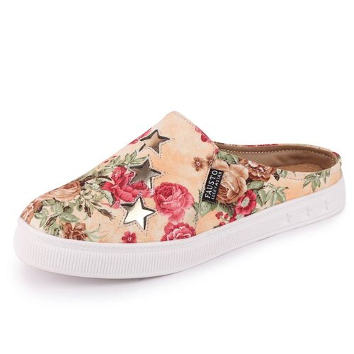Fausto Women's Canvas Flowers Print Slip On Back Open Shoes