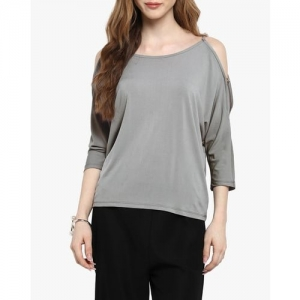 Kazo Scoop-Neck Top with Sleeve Cutouts