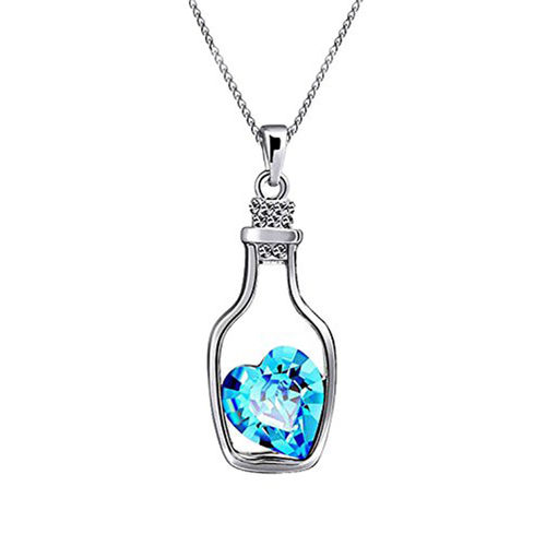 Code Yellow Rhodium Plated Solitaire Crystal Heart Bottle Pendant for Women PS1101606Blu