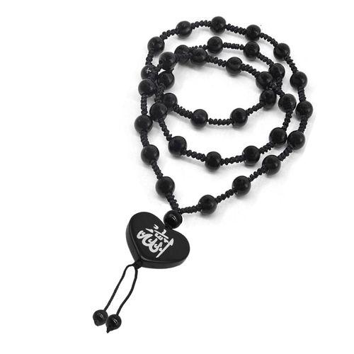 Men Style Heart Shape Muslim Shahada Islam Allah Black White Crystal Cotton Dori Necklace Pendant