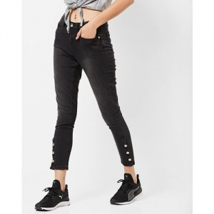 DNMX Light-Wash Skinny Jeans with Buttoned Hems