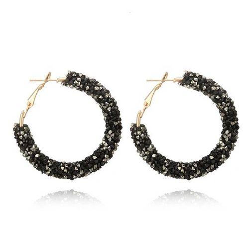 ELEGANCIO Women Charm Geometric Round Jewelry Accessories Glitter Hoop Earring Pack Of 4