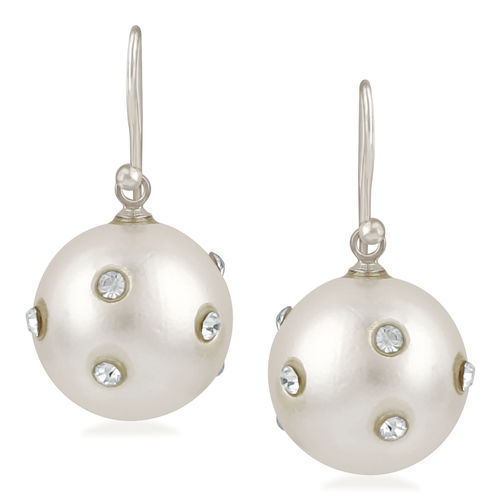Oviya Rhodium Plated Round Artificial Pearl with Sparkling Crystal stones Fish Hook Earrings for girls and women ER21094