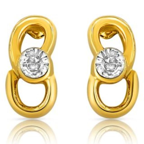 Mahi Fashion Mahi Gold Plated and CZ Slender Golden Earrings