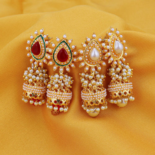 Sukkhi Gold Plated Alloy Jhumkis For Women (Set of 2)