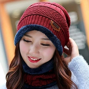 Alexvyan 2 Pcs - Cap and Scarf - Imported Soft Warm Snow and Air Proof Fleece Knitted Cap