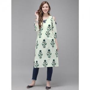 Anouk Women Off-White & Teal Green Printed Straight Kurta