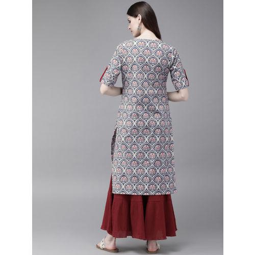 Anouk Women Off-White & Teal Blue Printed Straight Kurta