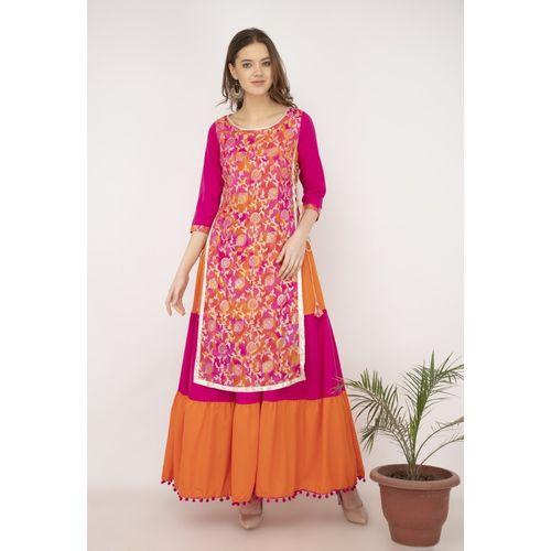 Libas Women's Colorblock Ethnic Dress Kurta(Pink)