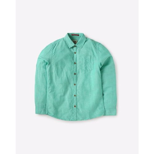 YB DNMX Textured Spread-Collar Shirt with Roll-Up Tabs