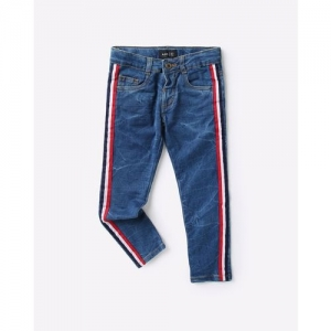 AJIO Heavily Washed Slim Fit Jeans with Contrast Taping