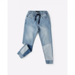 AJIO Lightly Washed Panelled Joggers