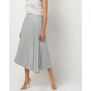 AJIO Striped A-line Skirt
