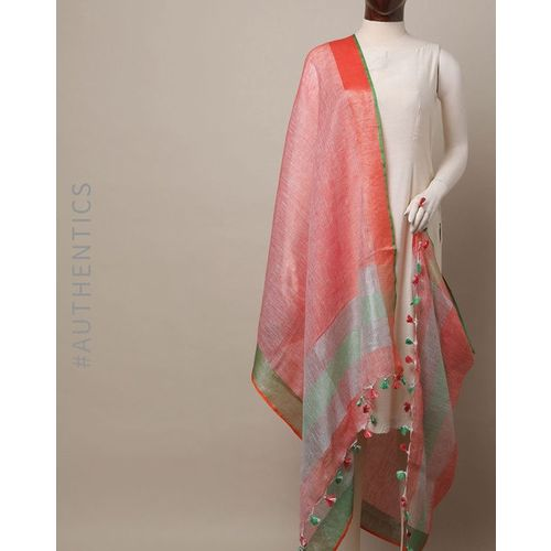 Indie Picks Handloom Pure Linen Zari Dupatta with Pompoms